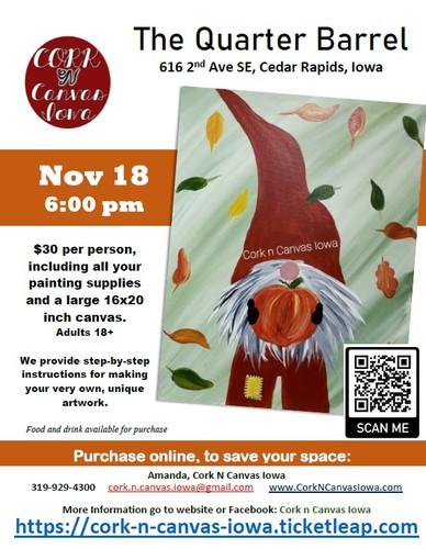The Quarter Barrel - Autumn Gnome - Cork N Canvas Iowa