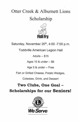 Alburnett & Otter Creek Lions Clubs.   Scholarship Fish Fry