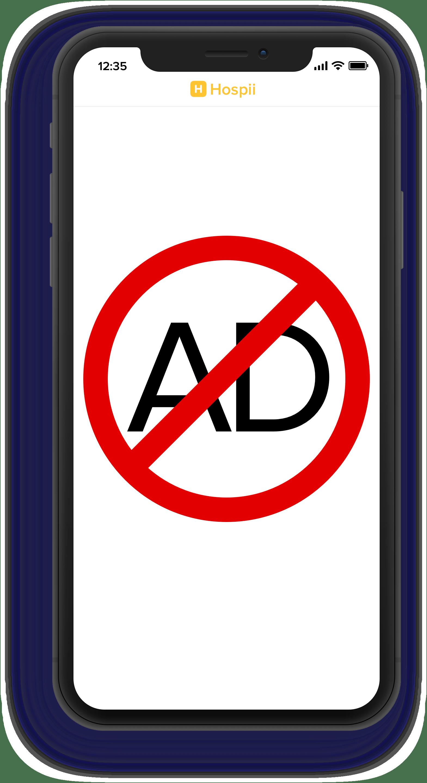 Hospii has no ads
