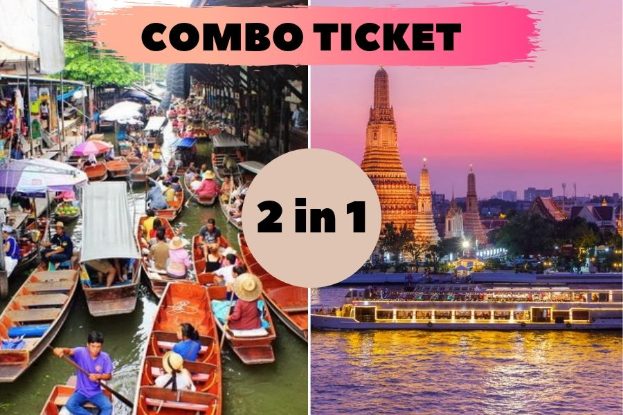 2 in 1 Combo Ticket: Damnoen Saduak + Chao Phraya Princess Cruise