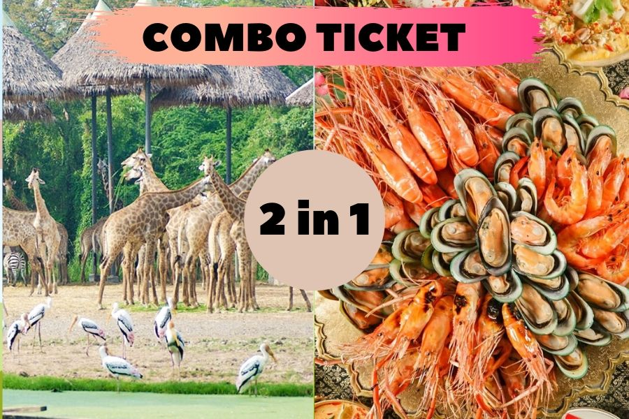 2 in 1 Combo Ticket Safari World Ticket and Dinner on 75, 76, or 78 Floor at Baiyoke Sky Hotel
