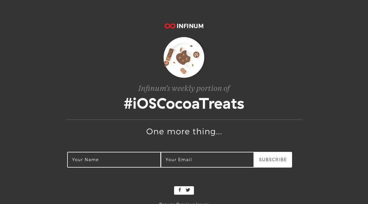 #iOSCocoaTreats newsletter image