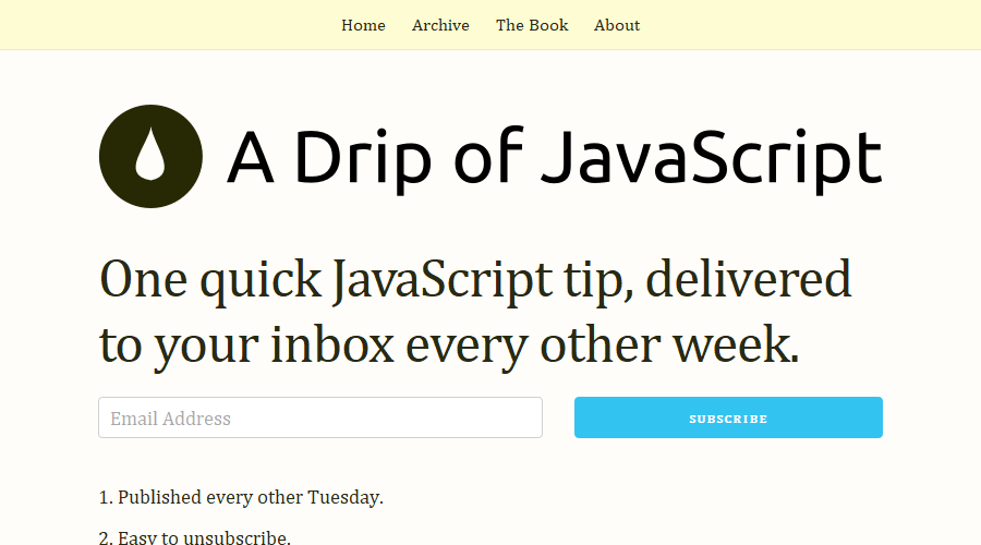 A Drip of Javascript newsletter image