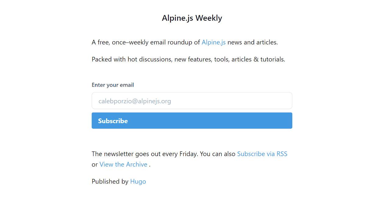 Alpine.js Weekly newsletter image