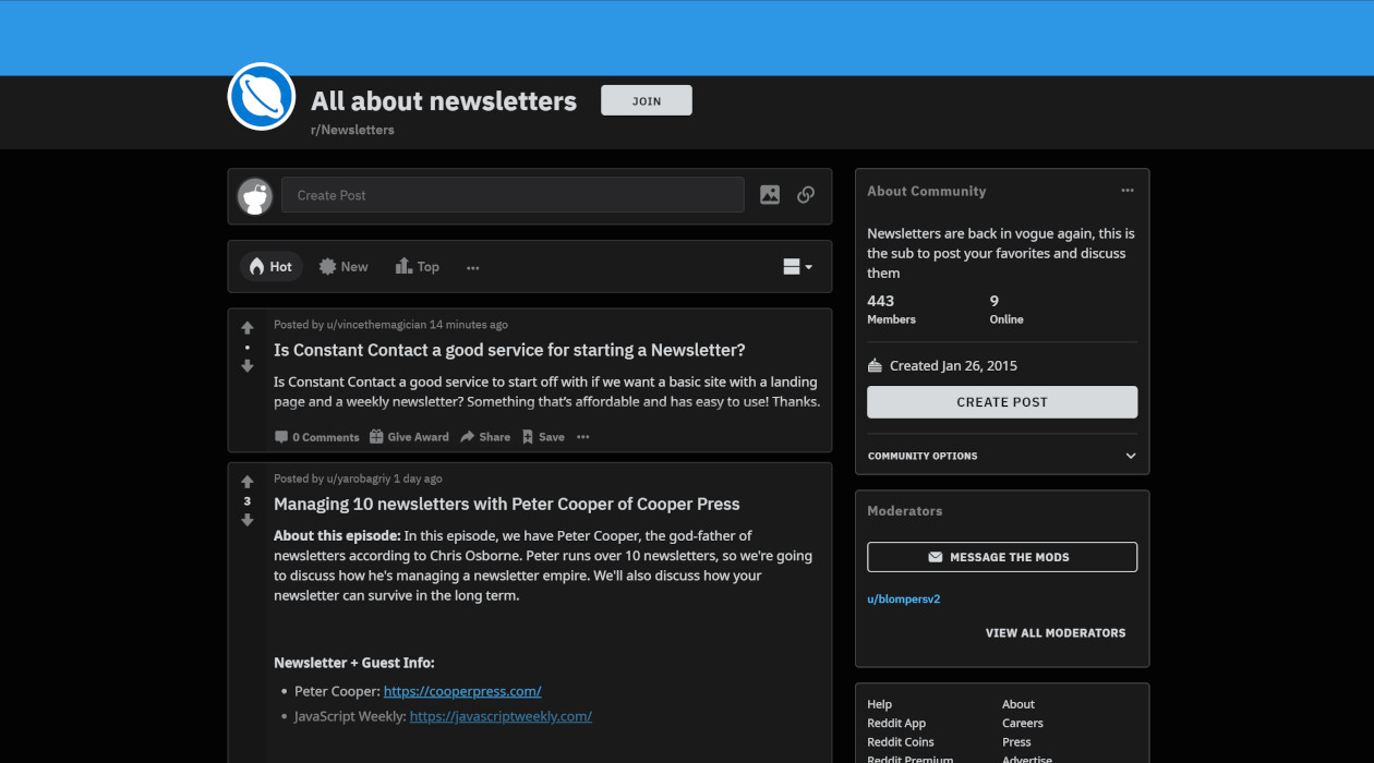 Newsletters Subreddit