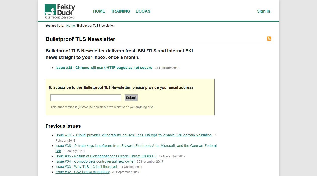 Bulletproof TLS newsletter image