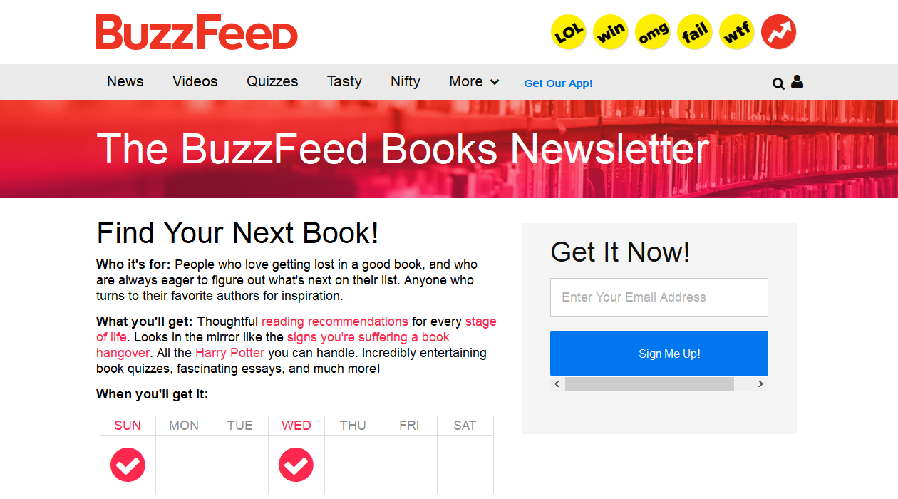 Buzfeed Books newsletter image