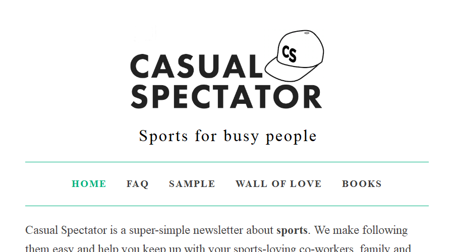 Casual Spectator newsletter image