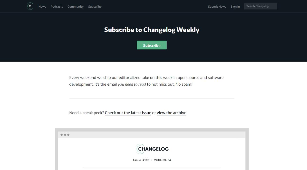 Changelog Weekly newsletter image