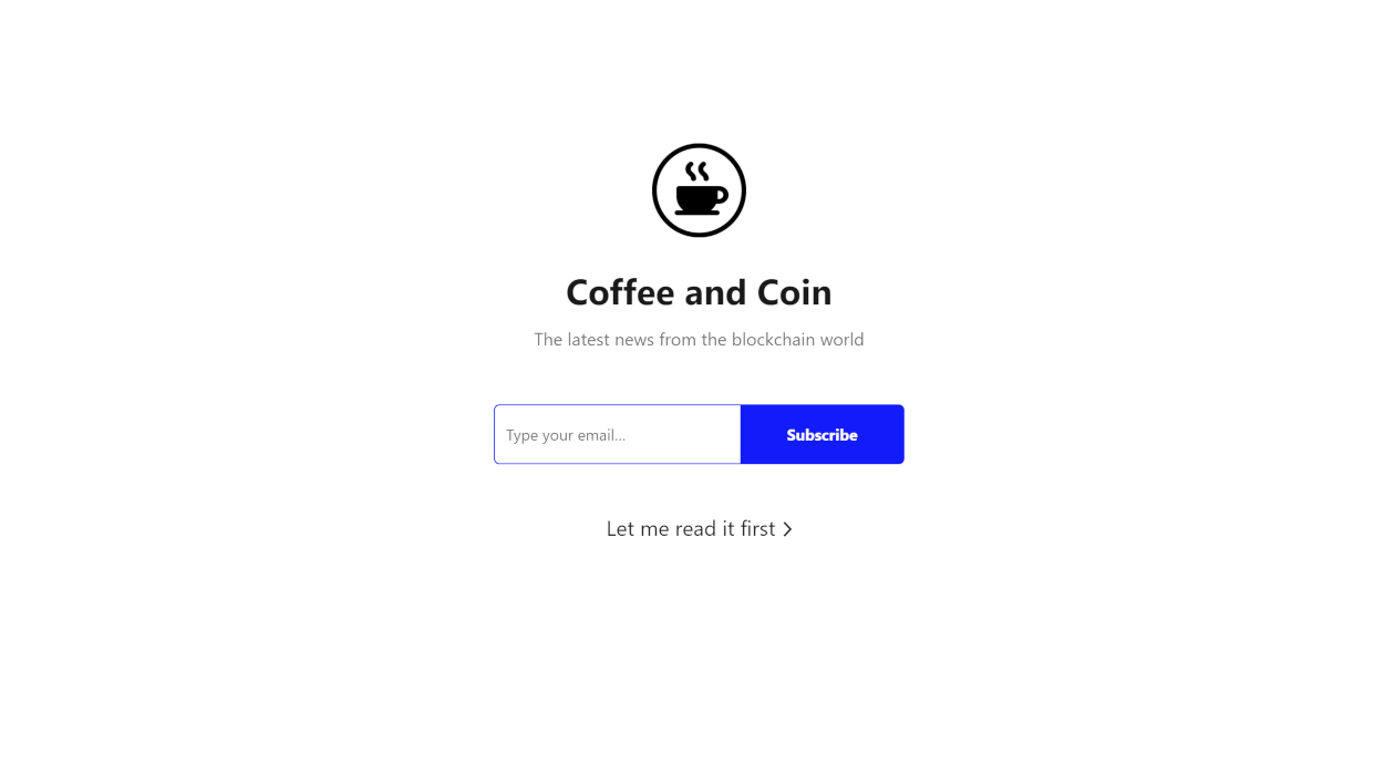 Coffee and Coin newsletter image