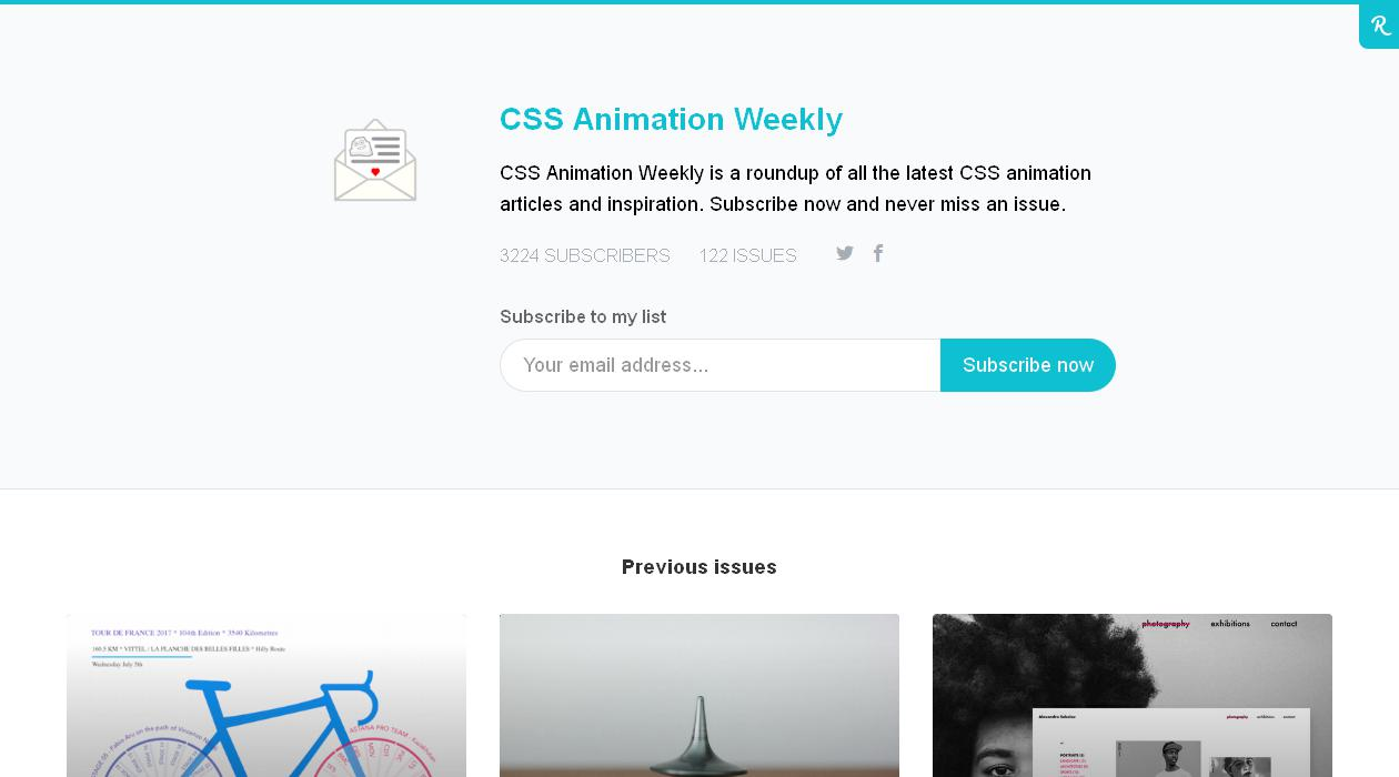 CSS Animation Weekly newsletter image