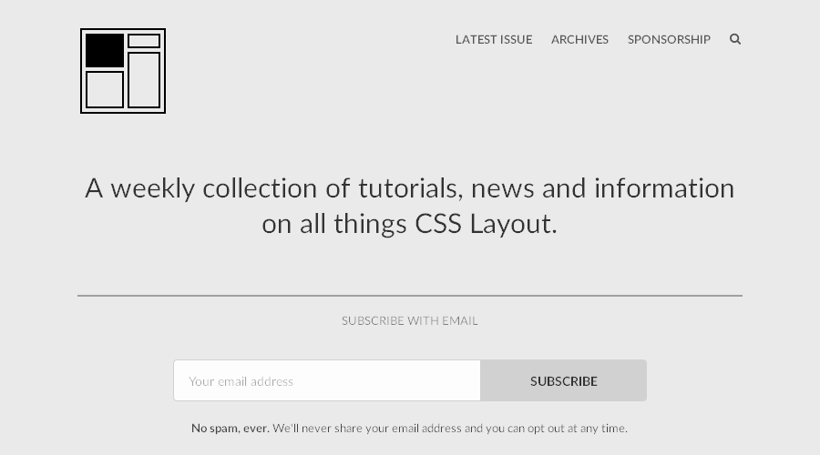CSS Layout News newsletter image