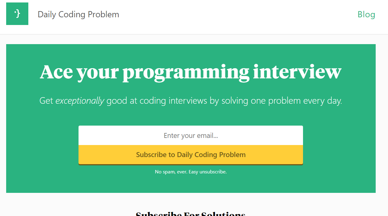 Daily Coding Problem newsletter image