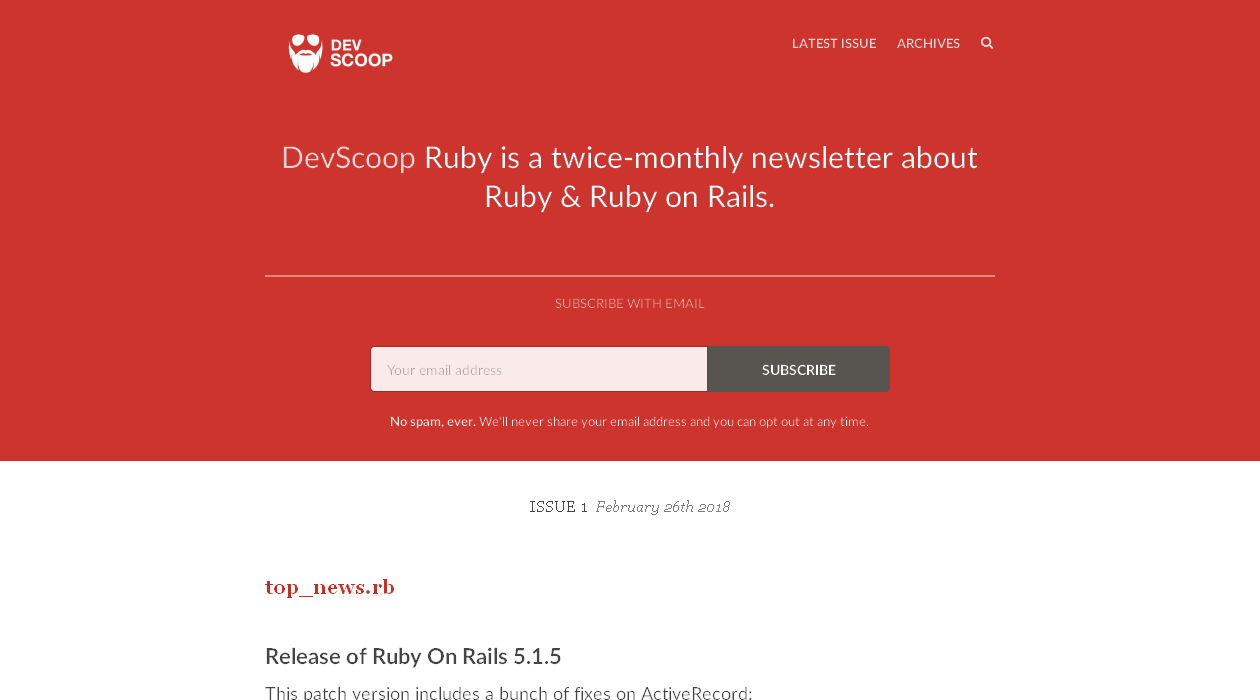 DevScoop Ruby newsletter image