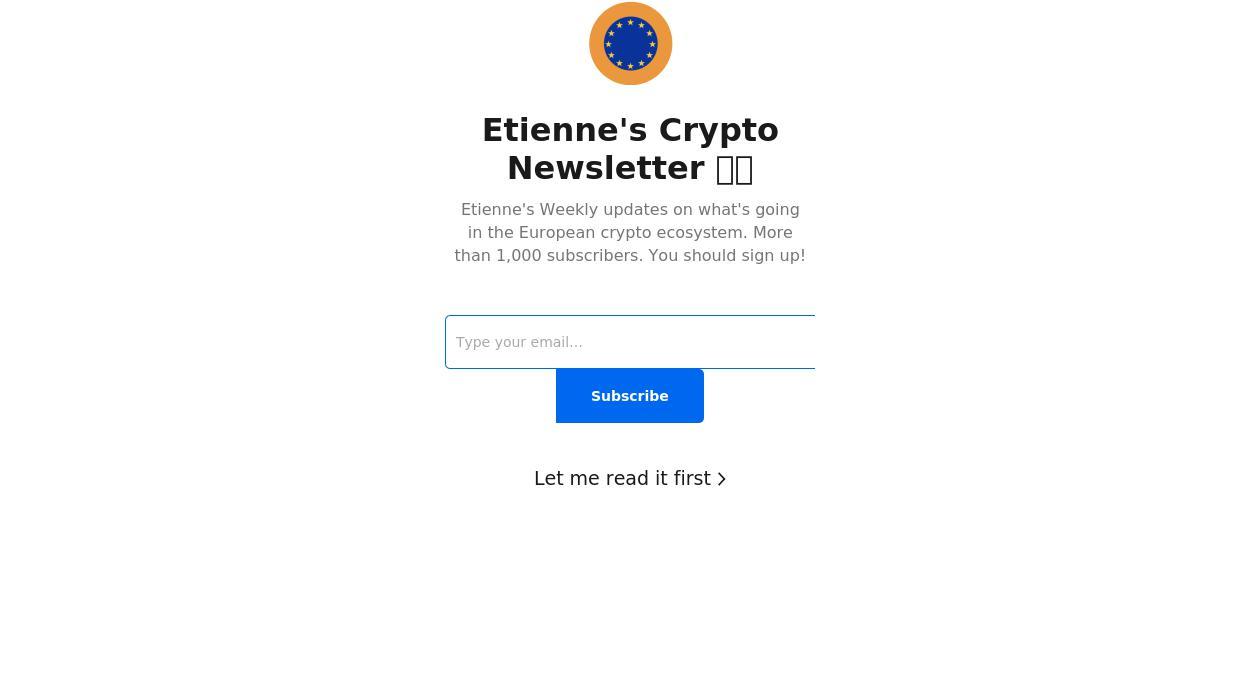Etienne's crypto newsletter newsletter image