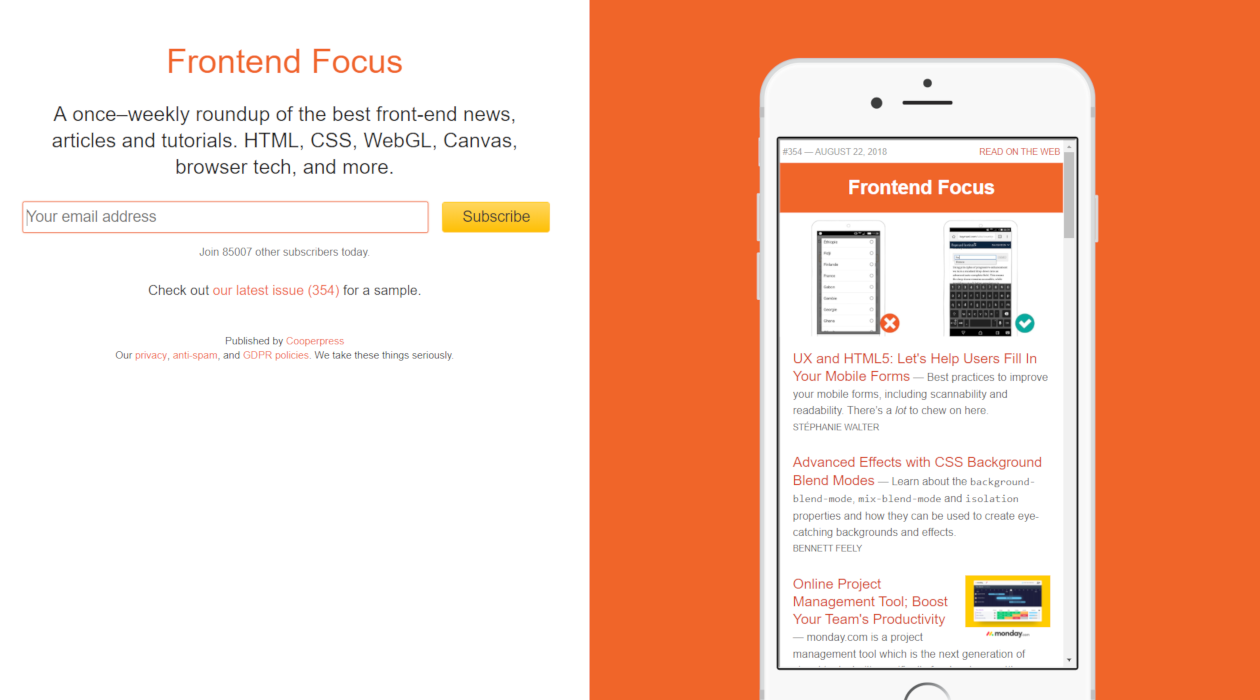 Frontend Focus newsletter image