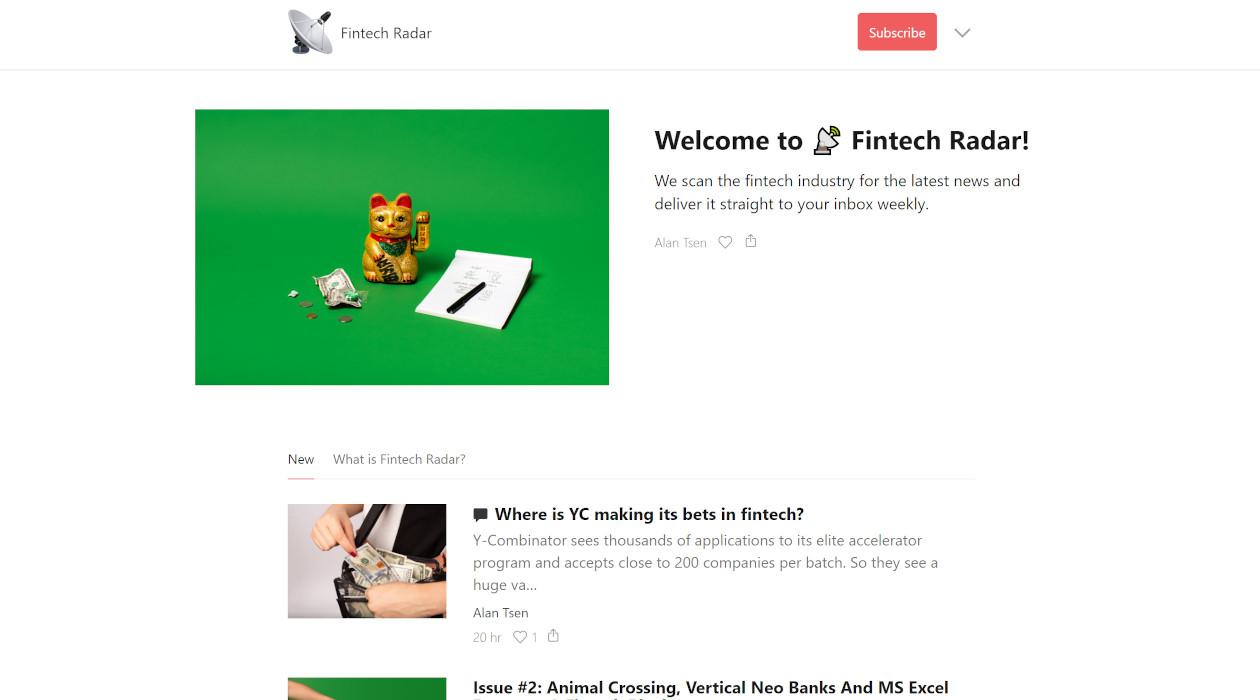 Fintech Radar newsletter image