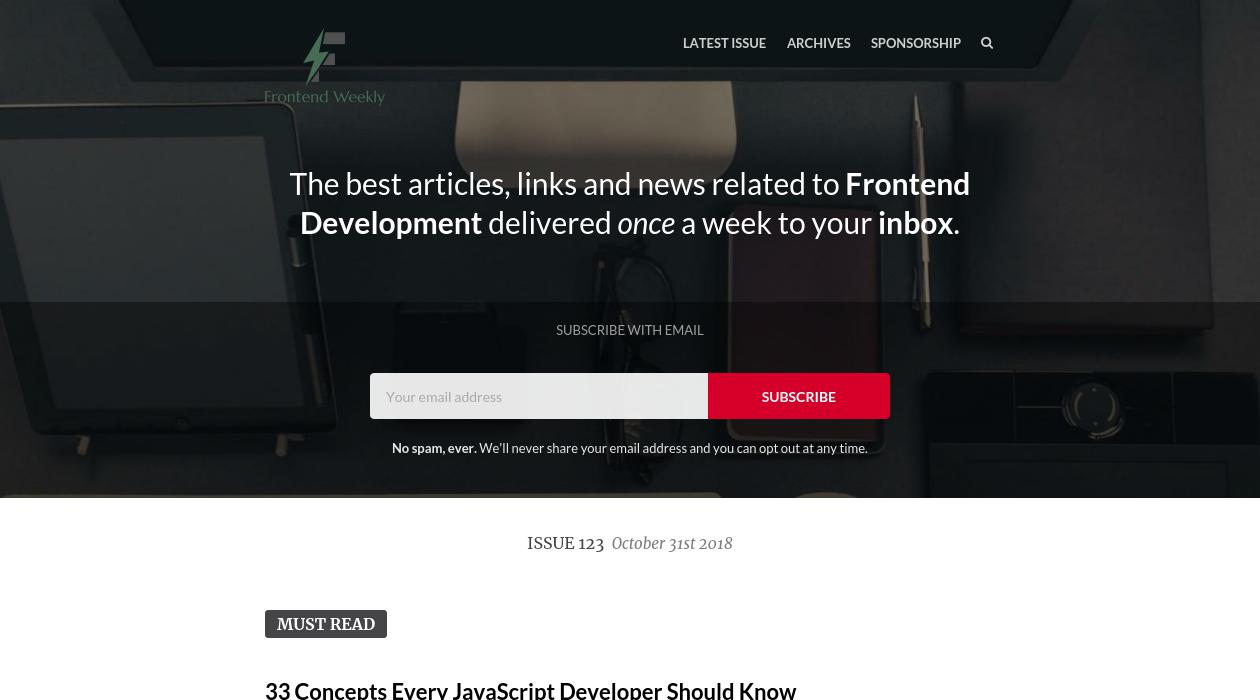 Frontend Weekly newsletter image
