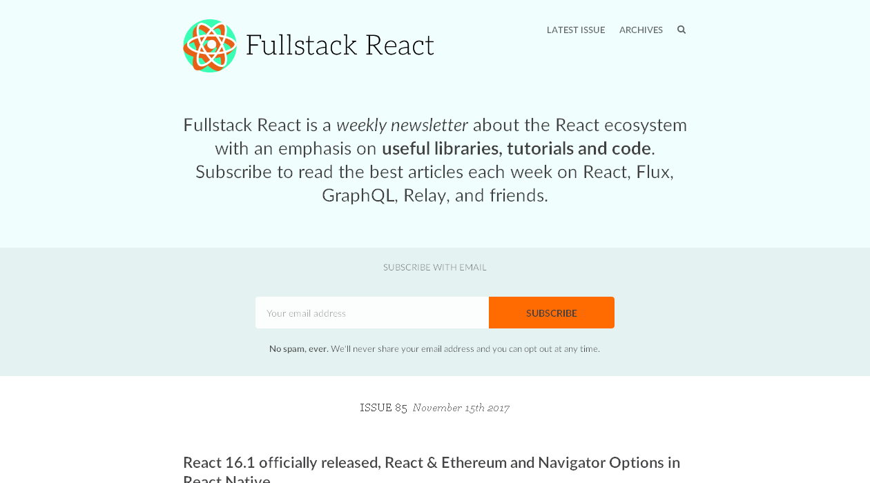 Fullstack React newsletter image