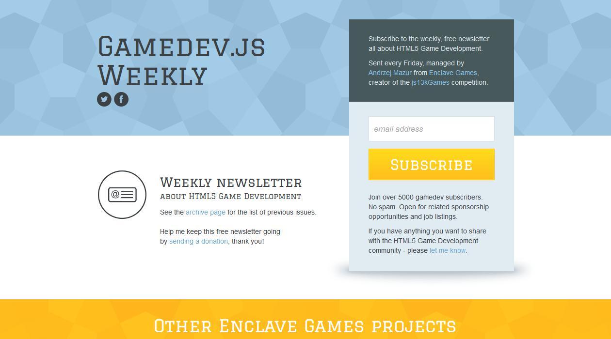 Gamedev.js Weekly newsletter image