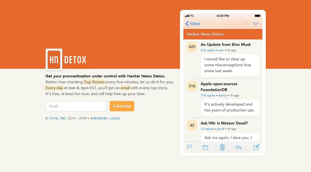Hacker News Detox newsletter image
