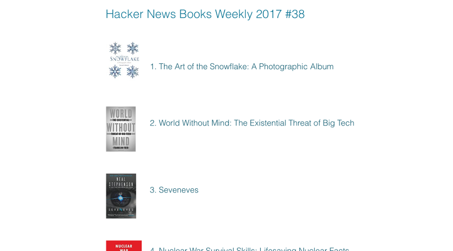 Hacker News Books newsletter image