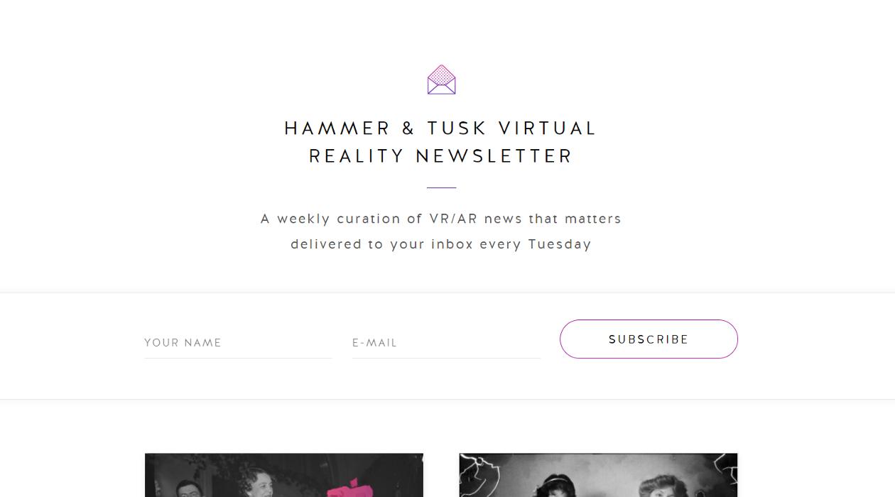 Hammer & Tusk VR newsletter image