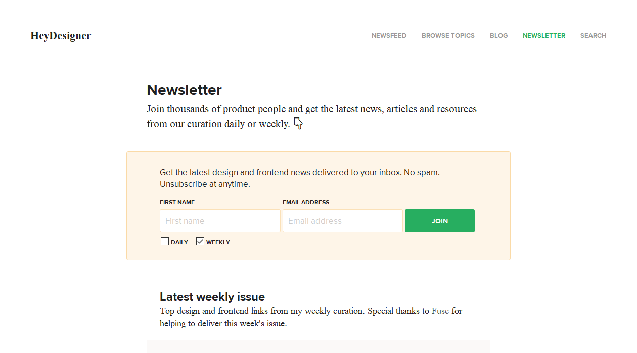 Hey Designer newsletter image