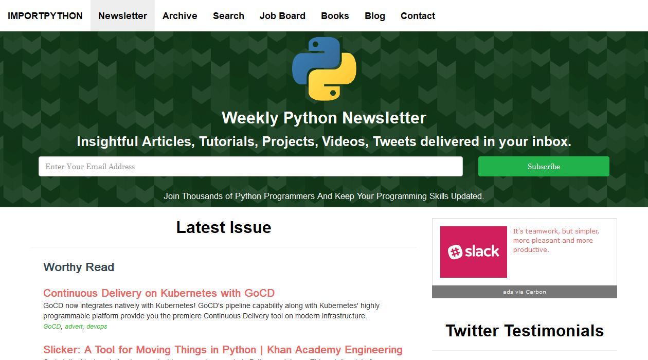 Import Python newsletter image
