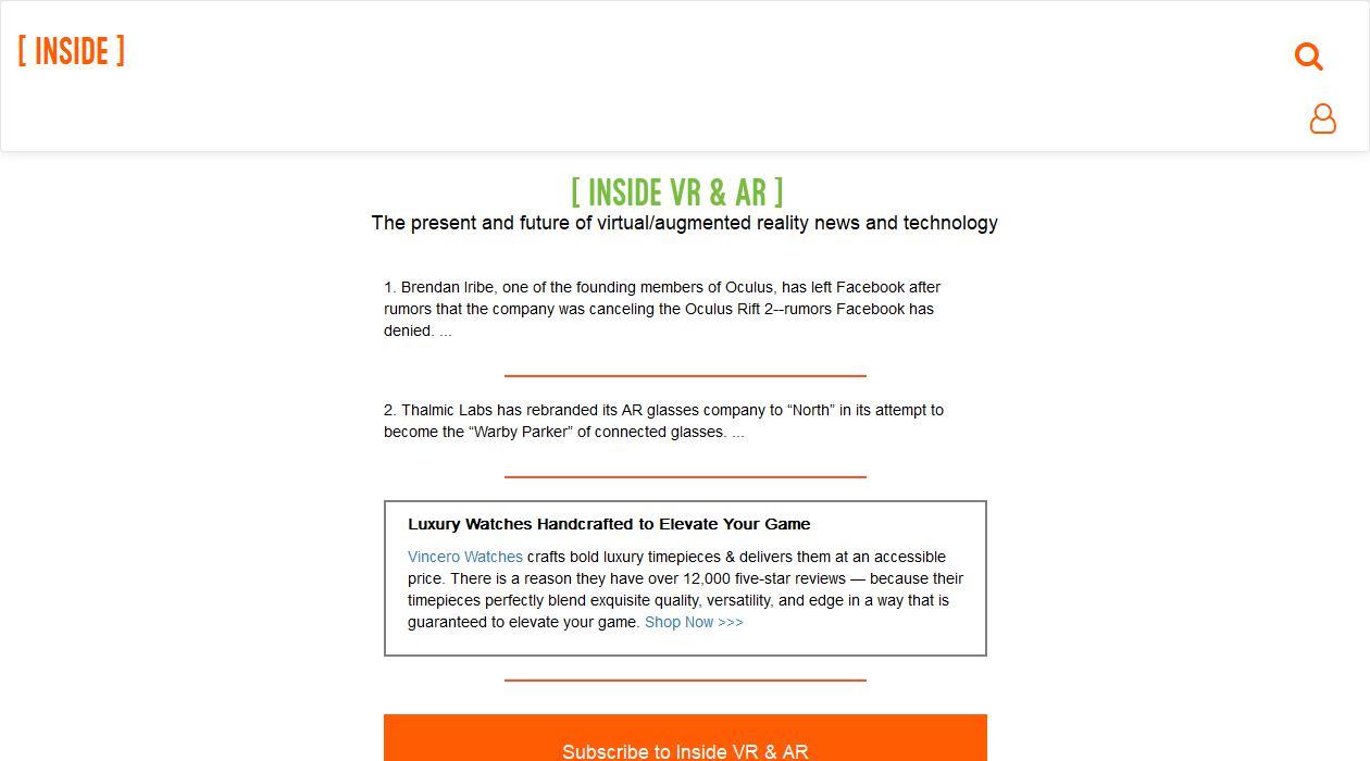 Inside VR & AR newsletter image