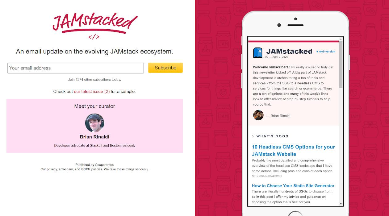 JAMstacked newsletter image