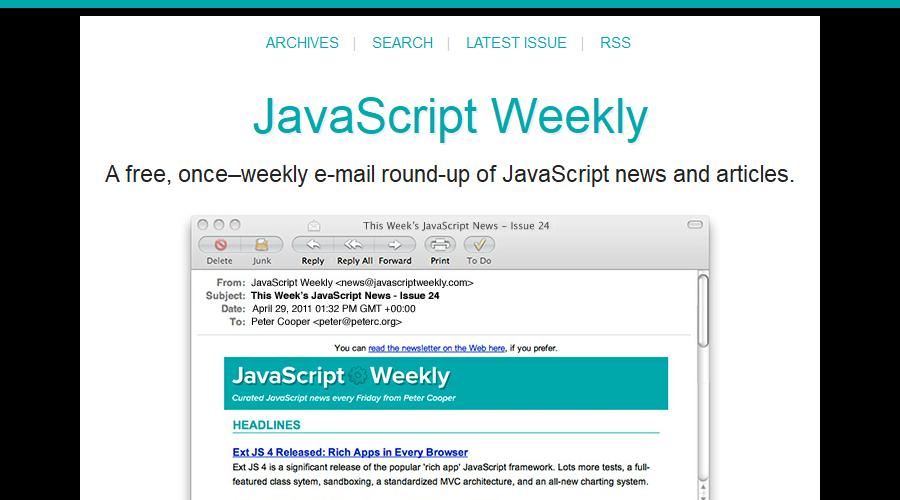 Javascript Weekly newsletter image