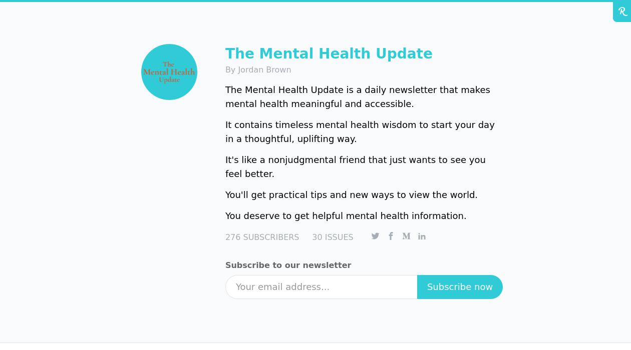 Jordan Brown - The Mental Health Update newsletter image