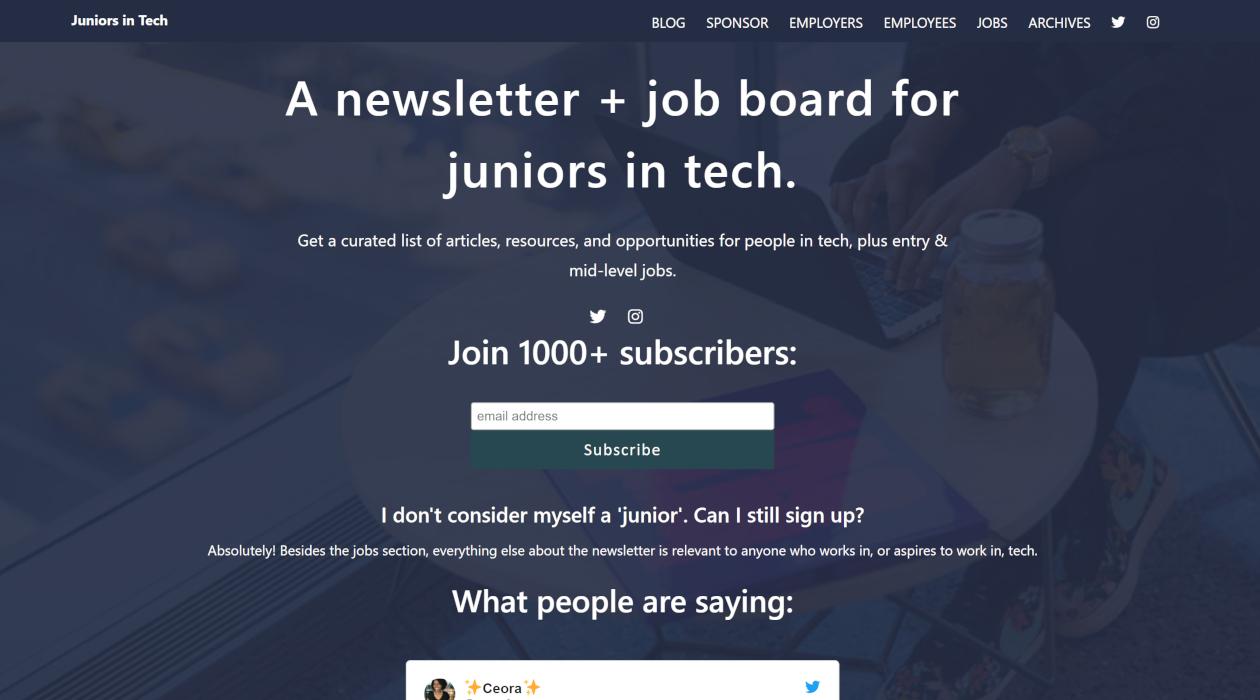 Juniors in Tech newsletter image