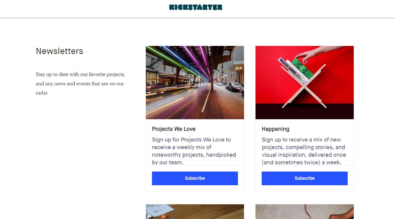 Kickstarter Newsletters newsletter image