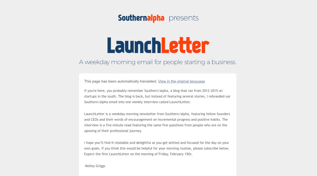 LaunchLetter newsletter image