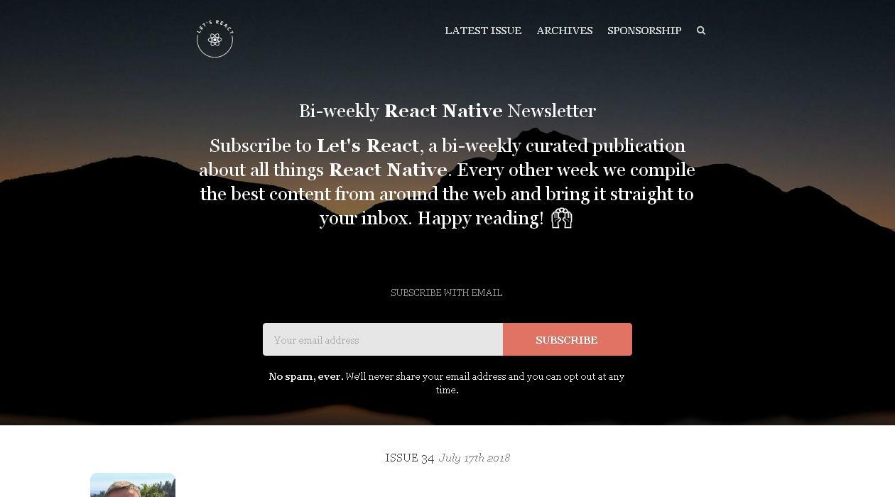 Let's React newsletter image