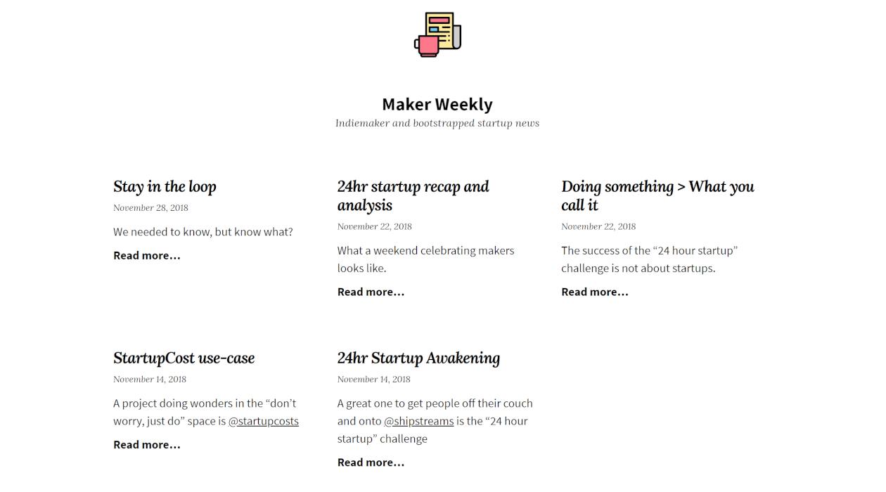 Maker Weekly newsletter image