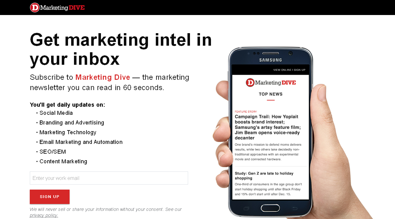 Marketing Dive newsletter image
