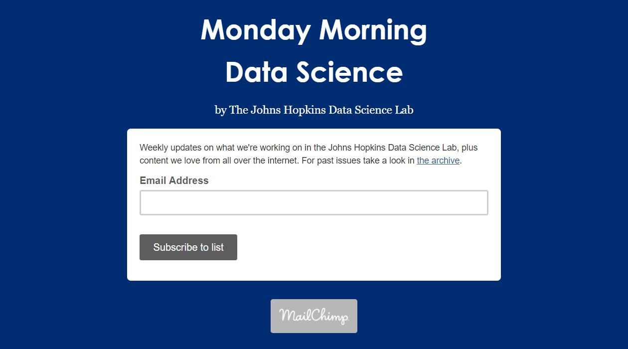 Monday Morning Data Science newsletter image