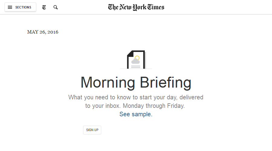 Morning Briefing - New York Times newsletter image