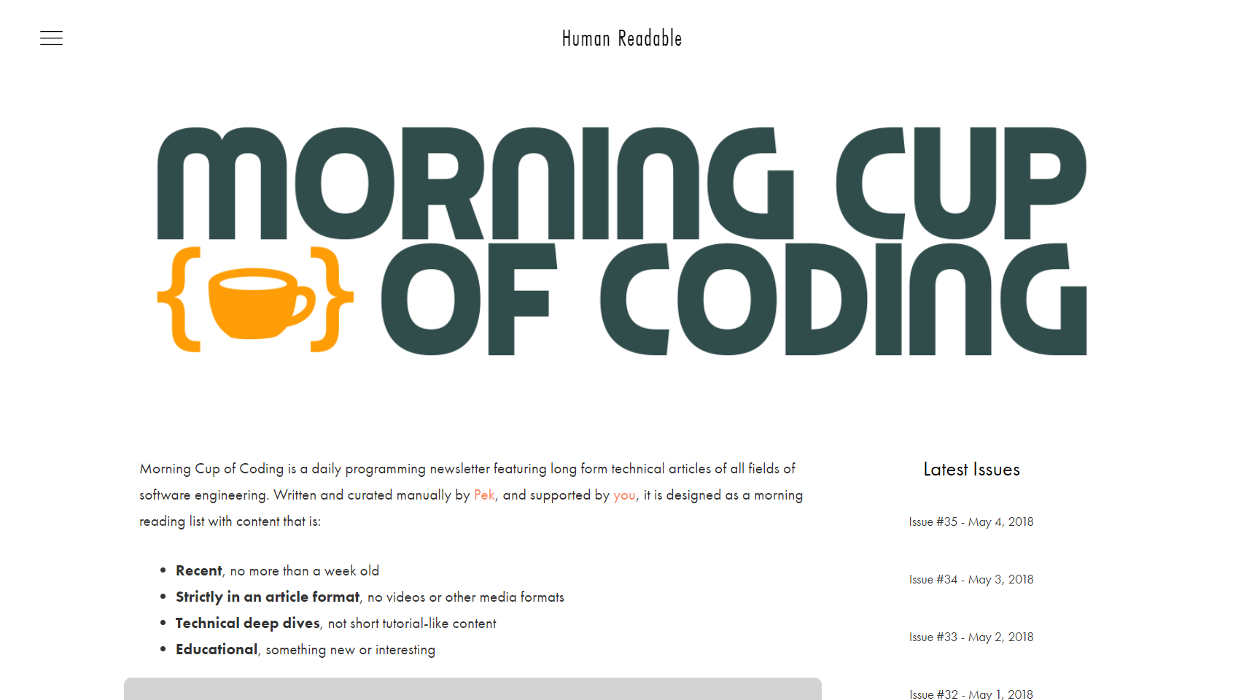 Morning Cup of Coding newsletter image