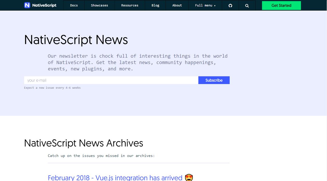 NativeScript News newsletter image