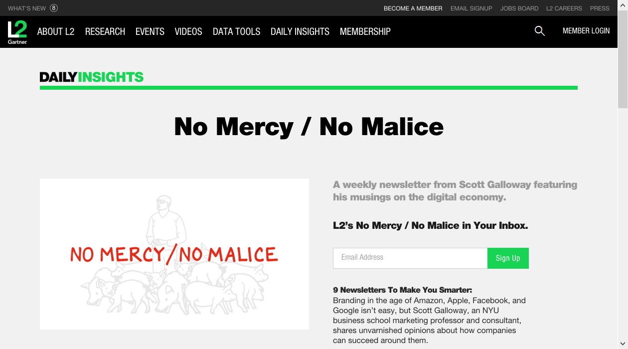 No Mercy / No Malice newsletter image