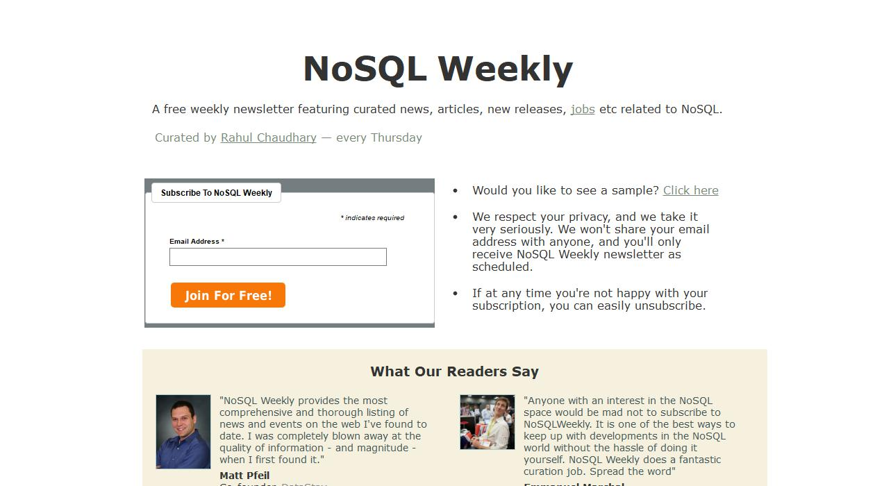 NoSQL Weekly newsletter image