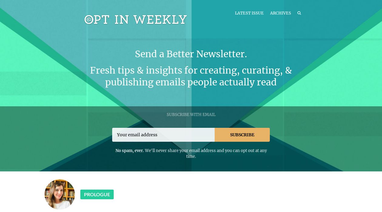 Opt In Weekly newsletter image