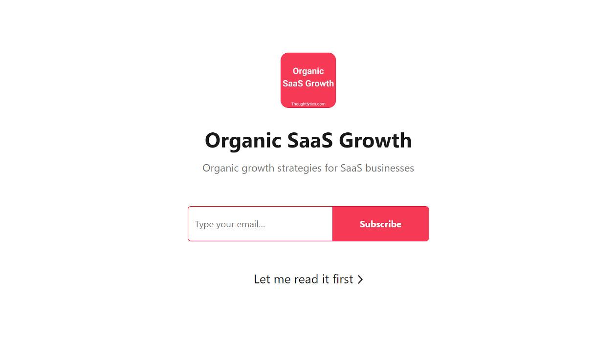 Organic SaaS Growth newsletter image