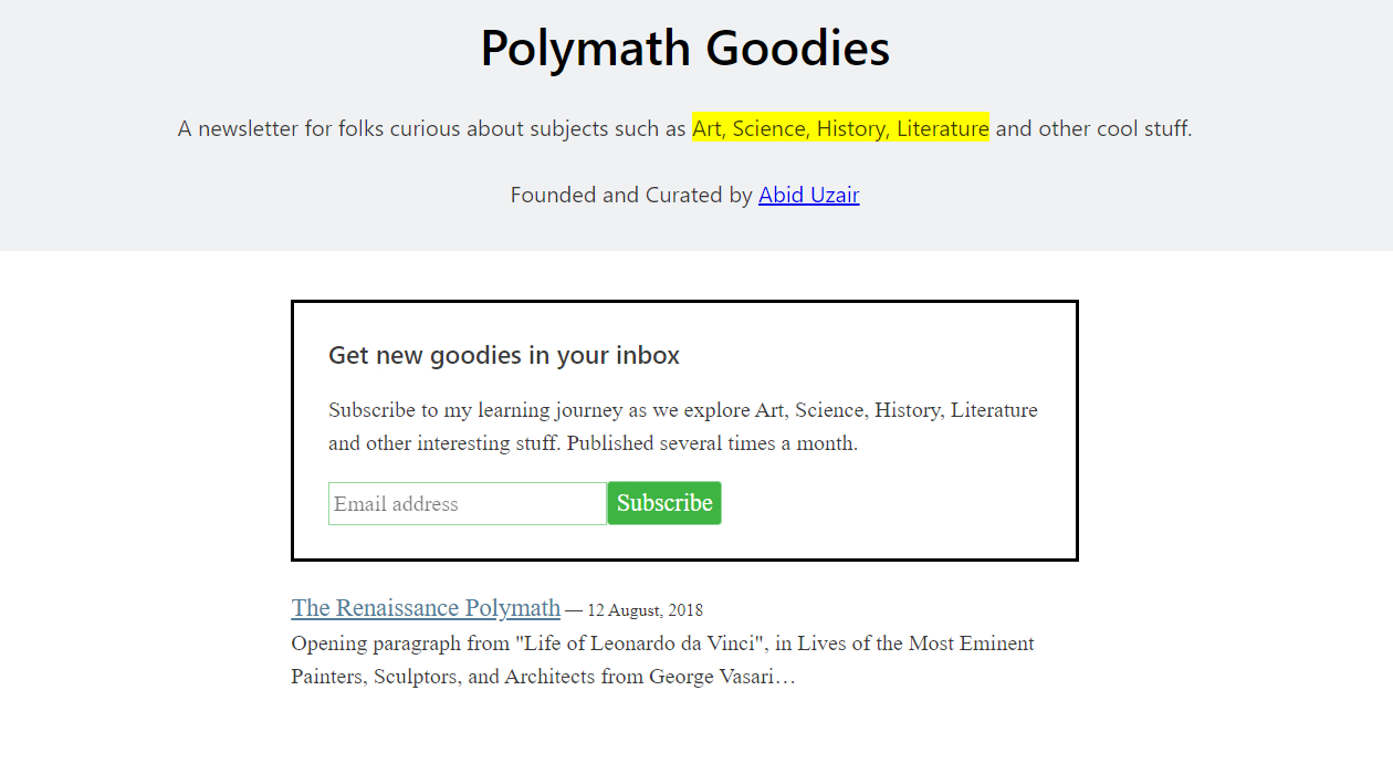 Polymath Goodies newsletter image
