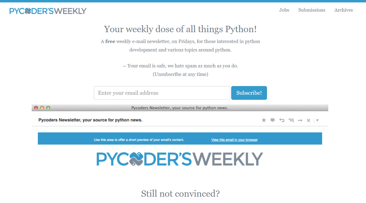 Pycoder's Weekly newsletter image