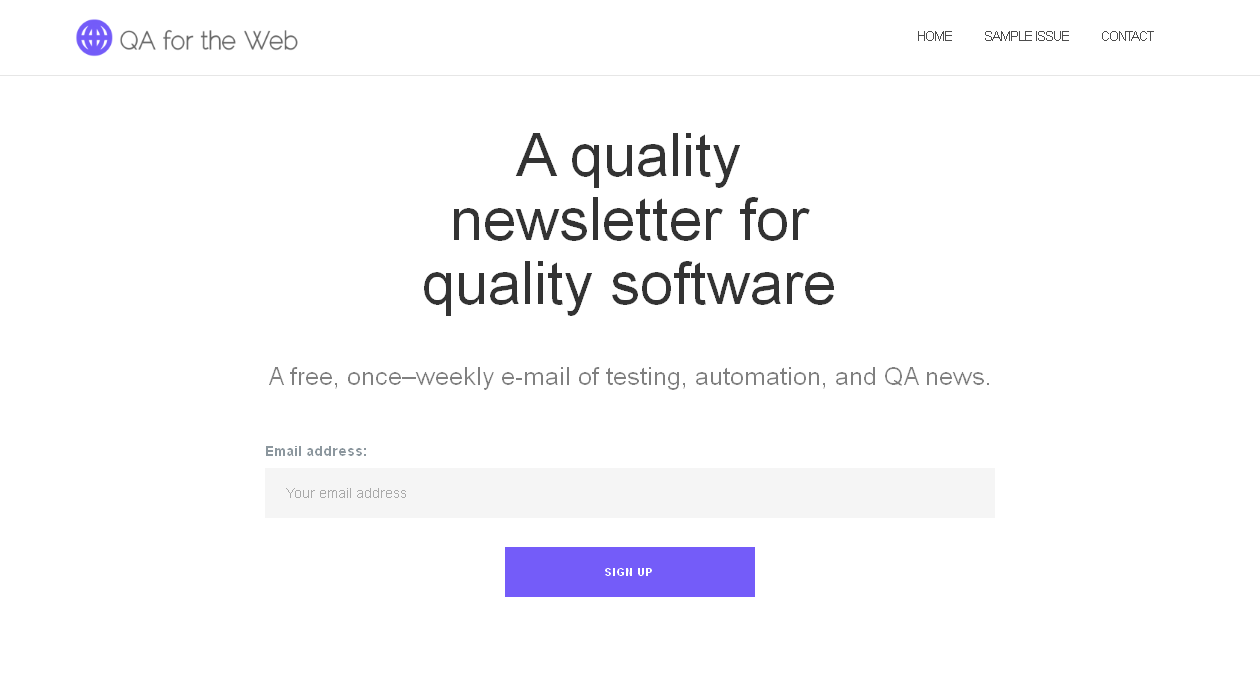 QA For The Web newsletter image